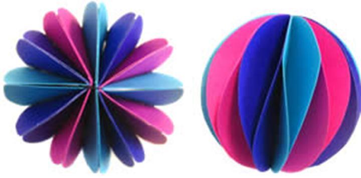 Как сделать новогодний шарик из цветной бумаги