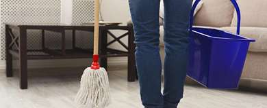 Unrecognizable Woman With Mop Ready To Clean Floor PQKUZJC